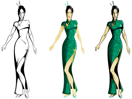 Ink and color versions of an Asian girl wearing a traditional Chinese dress. Graphics are grouped and in several layers for easy editing. The file can be scaled to any size  Vector