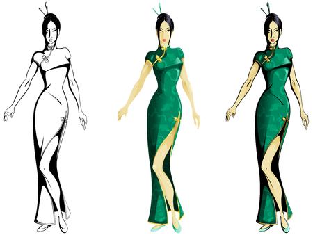 Inkt en kleur versies van een Aziatisch meisje draagt een traditionele Chinese jurk. Graphics zijn gegroepeerd en in verschillende lagen voor eenvoudige bewerking. Het bestand kan worden geschaald naar elke grootte Stock Illustratie