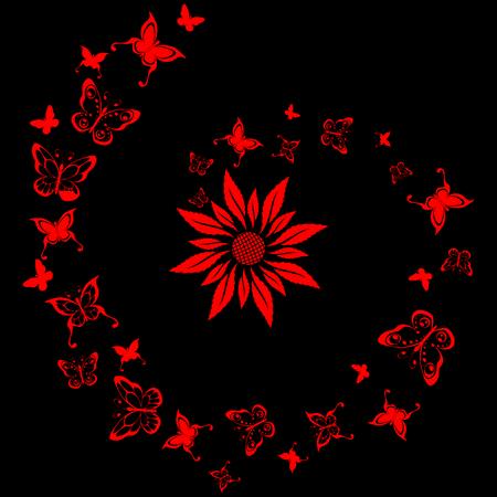 Laca azulejo con diseño de flores y mariposas. Gráficos y se agrupan en varias capas para editar fácilmente. El archivo puede hacerse a escala en cualquier tamaño Foto de archivo - 4121350