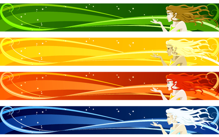 "Four identical web banners of a girl blowing kisses with seasonal coloring. ""Full Banner"" format. Graphics are grouped and in several layers for easy editing. The file can be scaled to any size.  Ilustração"