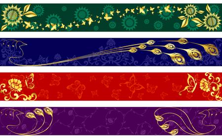인도 사리 디자인에서 영감을 얻은 4 개의 이국적인 웹 배너. â € œFull Bannerâ € 포맷. 그래픽 쉽게 편집 할 수 있도록 여러 레이어에 그룹화됩니다.
