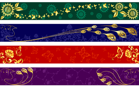 Four exotic web banners inspired by Indian sari designs.  �Full Banner� format.  Graphics are grouped and in several layers for easy editing. The file can be scaled to any size.