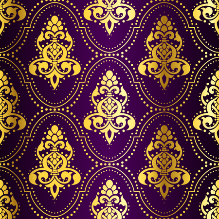 Gold-on-Purple seamless Indian pattern with dots. The tiles can be combined seamlessly. Graphics are grouped and in several layers for easy editing. The file can be scaled to any size.