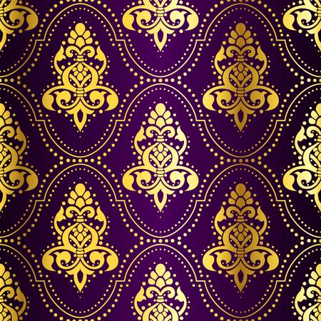 Oro-en-Purple sin fisuras con India patrón puntos. Los azulejos se pueden combinar perfectamente. Gráficos y se agrupan en varias capas para editar fácilmente. El archivo puede hacerse a escala en cualquier tamaño. Foto de archivo - 4177081