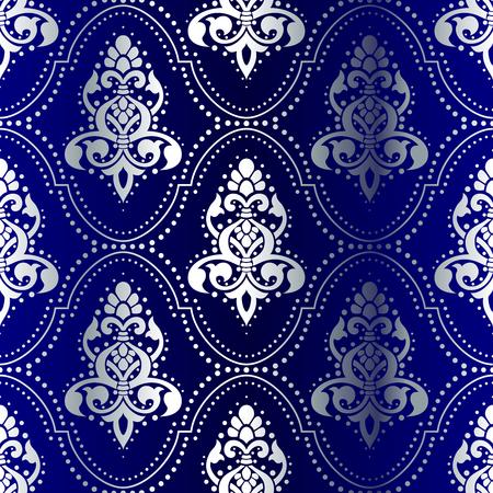 シルバーにブルー ドットとのシームレスなインドのパターン。タイルをシームレスに結合できます。グラフィックをグループ化および簡単な編集の