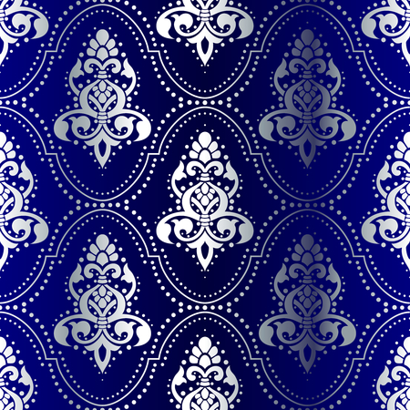 Silver-on-Blue seamless Indian pattern with dots. The tiles can be combined seamlessly. Graphics are grouped and in several layers for easy editing. The file can be scaled to any size.  Vector