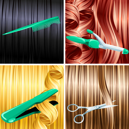 Haircare panels of combing, cutting, curling, and straightening hair. Graphics are grouped and in several layers for easy editing. The file can be scaled to any size.