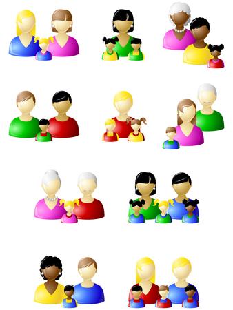 familia asiatica: Conjunto de iconos de los diferentes tipos de familias no tradicionales. Gr�ficos y se agrupan en varias capas para editar f�cilmente. El archivo puede hacerse a escala en cualquier tama�o.