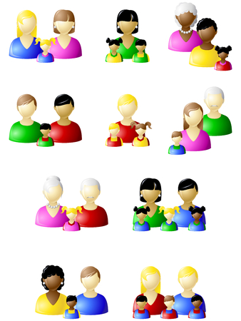 black lesbian: Set of icons of different types of non-traditional families. Graphics are grouped and in several layers for easy editing. The file can be scaled to any size.