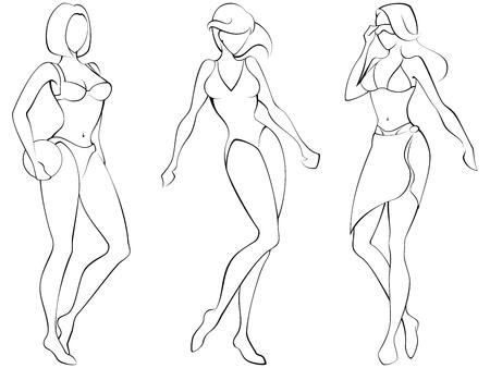 Esquema de tres mujeres en la playa-desgaste. Gráficos y se agrupan en varias capas para editar fácilmente. El archivo puede hacerse a escala en cualquier tamaño. Ilustración de vector