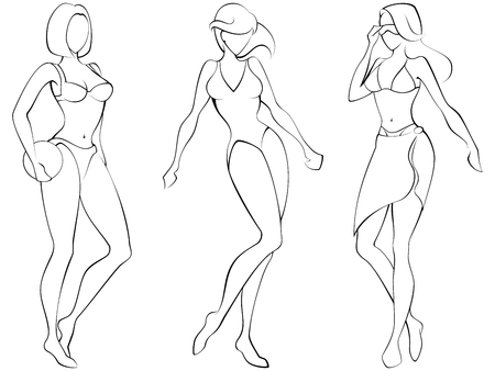 swimsuit:  Sketch of three women in beach-wear. Graphics are grouped and in several layers for easy editing. The file can be scaled to any size.