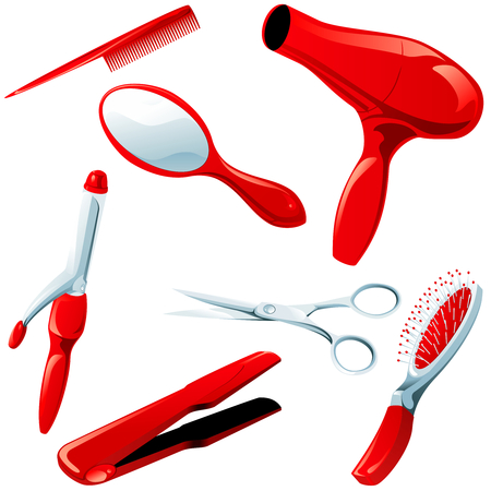 scaled: Set of haircare accessories. Graphics are grouped and in several layers for easy editing. The file can be scaled to any size.  Illustration