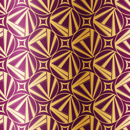 Gold-on-Purple seamless pattern inspired by the 1920's. Tiles can be combined seamlessly. Graphics are grouped and in several layers for easy editing. The file can be scaled to any size  Vettoriali