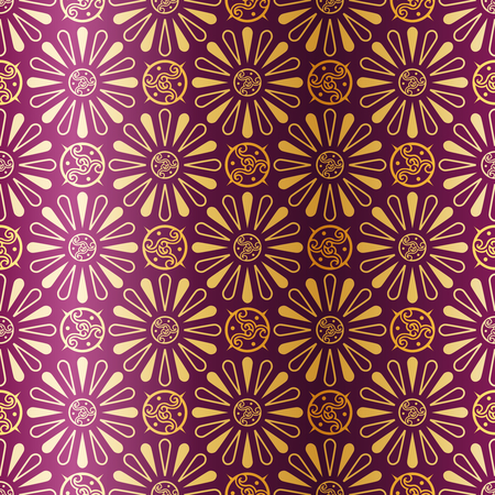 Gold-on-Purple seamless pattern inspired by the 1920s. Tiles can be combined seamlessly. Graphics are grouped and in several layers for easy editing. The file can be scaled to any size.