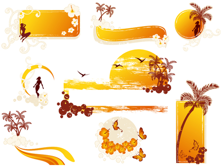 Set of tropical banners and other elements. Graphics are grouped and in several layers for easy editing. The file can be scaled to any size.