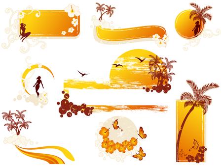 Set van tropische banners en andere elementen. Graphics zijn gegroepeerd en in verschillende lagen voor eenvoudige bewerking. Het bestand kan worden geschaald naar elke grootte.