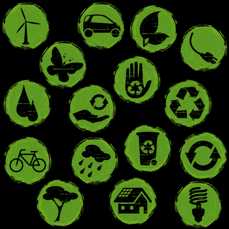 Collection of green and black environmental buttons, Graphics are grouped and in several layers for easy editing. The file can be scaled to any size.