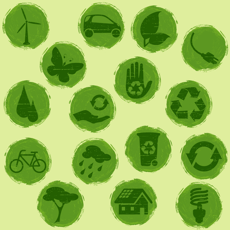 Collection of all-green environmental buttons, Graphics are grouped and in several layers for easy editing. The file can be scaled to any size.
