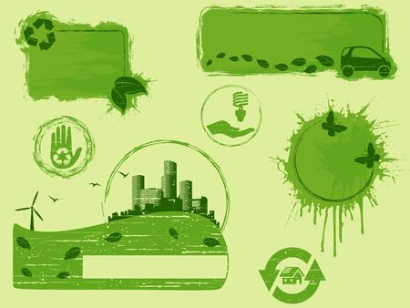 すべてグリーン環境ボタンとバナー広告のコレクション、グラフィックはグループ化された、いくつかの簡単な編集のための層。ファイルは、任意