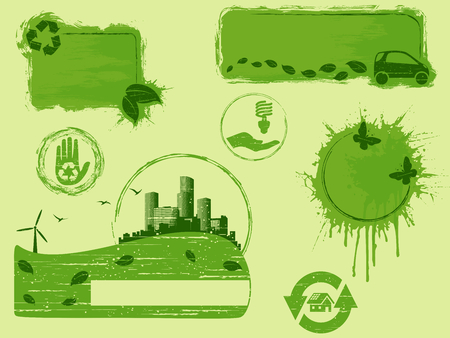 Collection of all-green environmental buttons and banners, Graphics are grouped and in several layers for easy editing. The file can be scaled to any size.