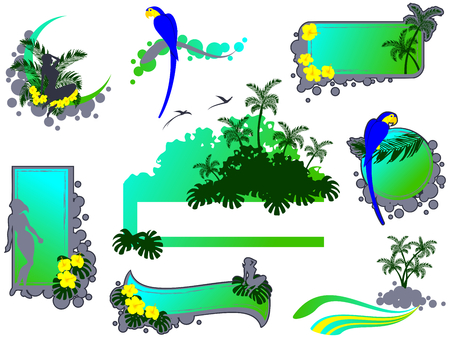 Set of tropical banners and other elements. Graphics are grouped and in several layers for easy editing. The file can be scaled to any size. Vector