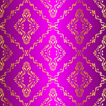 Gold-on-Pink seamless swirly damask pattern inspired by Indian art. The tiles can be combined seamlessly. Graphics are grouped and in several layers for easy editing. The file can be scaled to any size. Illustration