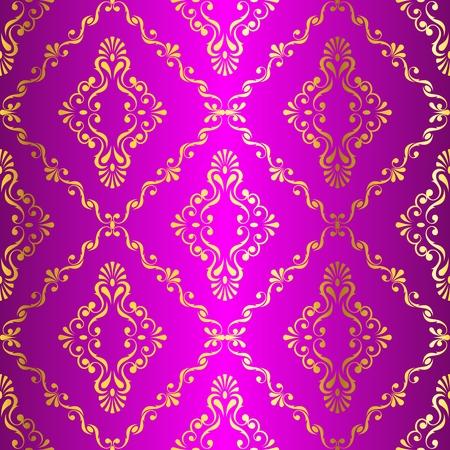 Goud-op-Pink naadloze swirly damast patroon geïnspireerd door de Indische kunst. De tegels kunnen worden gecombineerd naadloos. Graphics zijn gegroepeerd en in verschillende lagen voor eenvoudige bewerking. Het bestand kan worden geschaald naar elke grootte. Stock Illustratie