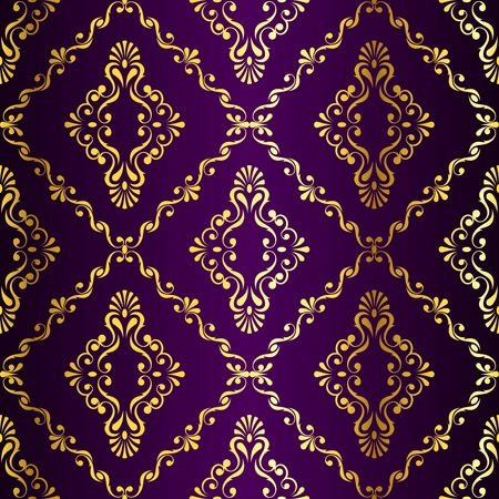 brocade: Gold-on-Purple seamless swirly damask pattern inspired by Indian art. The tiles can be combined seamlessly. Graphics are grouped and in several layers for easy editing. The file can be scaled to any size. Illustration