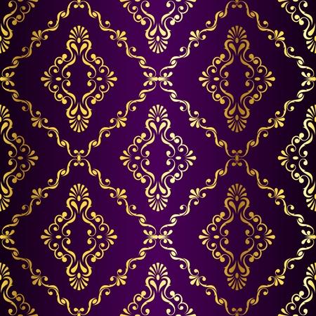 Goud-op-Purple naadloze swirly damast patroon geïnspireerd door de Indische kunst. De tegels kunnen worden gecombineerd naadloos. Graphics zijn gegroepeerd en in verschillende lagen voor eenvoudige bewerking. Het bestand kan worden geschaald naar elke grootte.