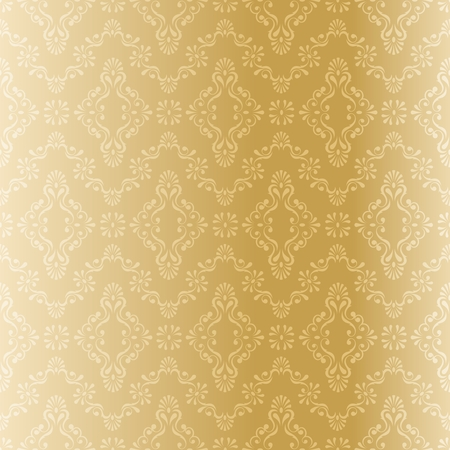scaled: Seamless gold filigree pattern. The tiles can be combined seamlessly. Graphics are grouped and in several layers for easy editing. The file can be scaled to any size.