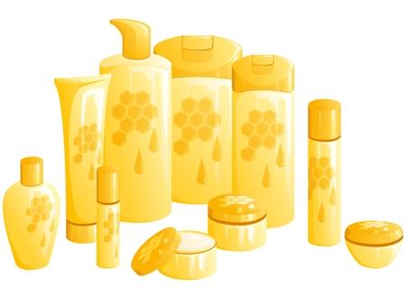 黄金のハニカムの設計での美容製品のライン。グラフィックをグループ化および簡単な編集のためのいくつかの層。ファイルは、任意のサイズにス  イラスト・ベクター素材