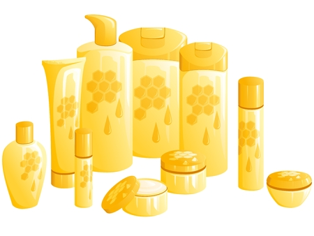 Line of beauty products, with a golden honeycomb design. Graphics are grouped and in several layers for easy editing. The file can be scaled to any size. Vettoriali