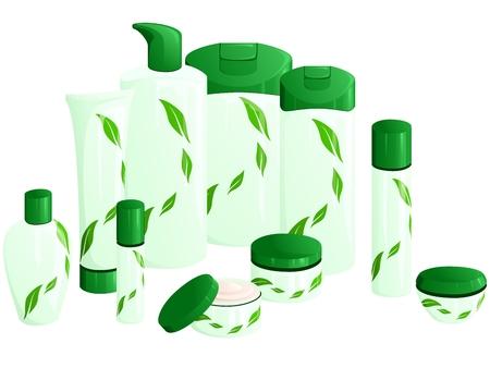 緑の葉のデザインの美容製品のライン。グラフィックをグループ化および簡単な編集のためのいくつかの層。ファイルは、任意のサイズにスケール