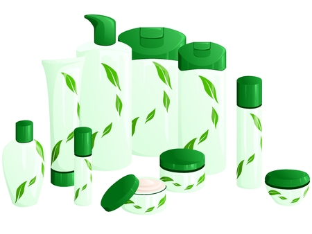 haircare: Line of beauty products, with a green leaf design. Graphics are grouped and in several layers for easy editing. The file can be scaled to any size. Illustration