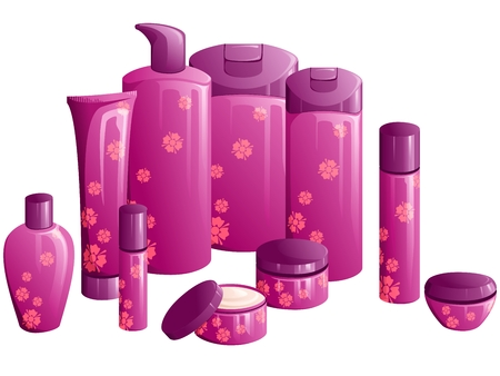 beauty product: Line of beauty products, with a purple flower design. Graphics are grouped and in several layers for easy editing. The file can be scaled to any size.