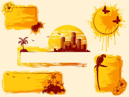 Retro tropical grunge banners in warm tones. Graphics are grouped and in several layers for easy editing. The file can be scaled to any size.