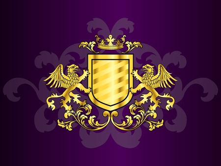 Heraldry design with griffins holding up a shield.
