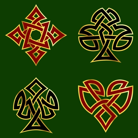 Celtic knotwork designs for card suits, with a gold rim.  of Graphics are grouped and in several layers for easy editing. The file can be scaled to any size. Stock Vector - 4841656
