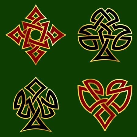 Celtic knotwork disegni per carta adatta, con un bordo d'oro. di grafica e sono raggruppati in diversi strati per un facile montaggio. Il file può essere scalata a qualsiasi dimensione. Archivio Fotografico - 4841656