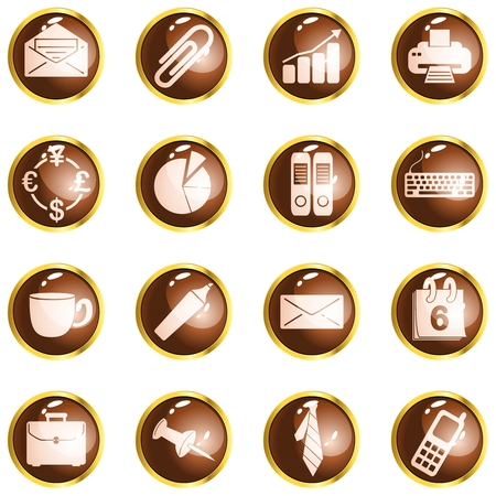 Collection of office themed buttons with metallic rim, Graphics are grouped and in several layers for easy editing. The file can be scaled to any size. Vector