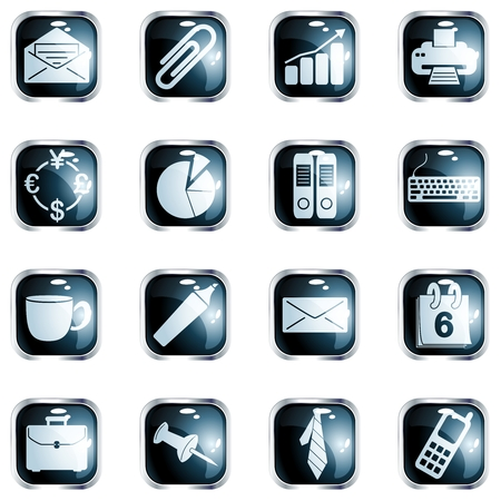 scaled:  Collection of office themed buttons with metallic rim, Graphics are grouped and in several layers for easy editing. The file can be scaled to any size.