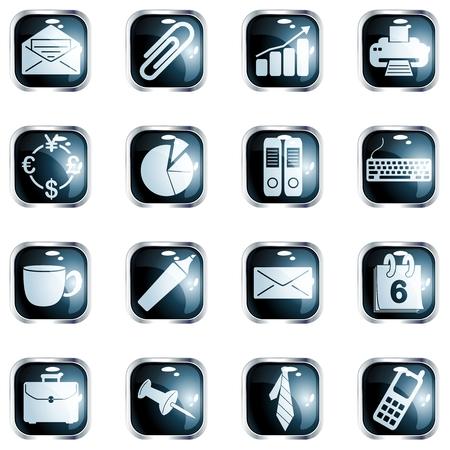 cerchione: Raccolta di ufficio a tema con i pulsanti cerchio metallico, grafica e sono raggruppati in diversi livelli per un facile montaggio. Il file pu� essere scalata a qualsiasi dimensione.