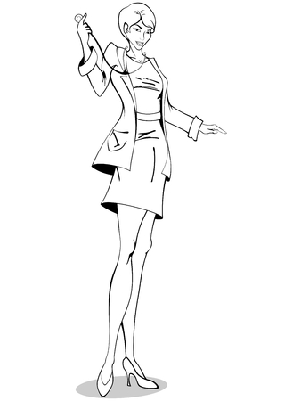 Comic style drawing of a female doctor. Graphics are grouped and in several layers for easy editing. The file can be scaled to any size.