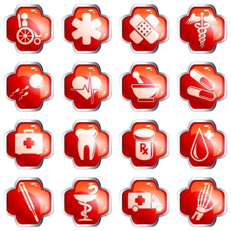 cerchione: Set di 16 medici rosso lucido pulsanti con bordo cromato. Grafica e sono raggruppati in diversi livelli per un facile montaggio. Il file pu� essere scalata a qualsiasi dimensione.