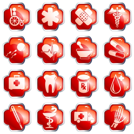 Set of 16 red medical high gloss buttons with chrome rim. Graphics are grouped and in several layers for easy editing. The file can be scaled to any size. Vector