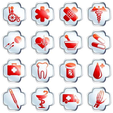 gloss: Set of 16 white medical high gloss buttons with chrome rim. Graphics are grouped and in several layers for easy editing. The file can be scaled to any size.