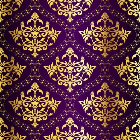 Gold-on-Purple seamless Indian floral pattern. The tiles can be combined seamlessly. Graphics are grouped and in several layers for easy editing. The file can be scaled to any size.