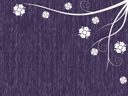 Simple violet background with vines and flowers. Graphics are grouped and in several layers for easy editing. The file can be scaled to any size. Ilustração