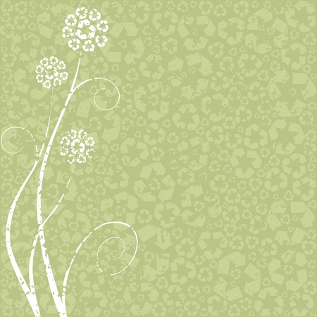 Light green grungy Conceptual illustration of flowers made out of recycling symbols. Graphics are grouped and in several layers for easy editing. The file can be scaled to any size.