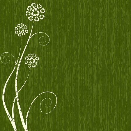 Dark green grungy Conceptual illustration of flowers made out of recycling symbols. Graphics are grouped and in several layers for easy editing. The file can be scaled to any size.